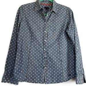 Talbots polka dot denim shirt size 8